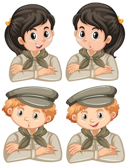 Set of boys and girls in safari outfit on white background