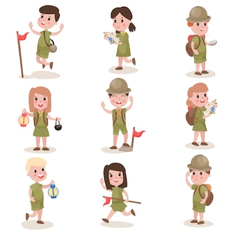 Set of boys and girls scouts with hiking equipment, summer camp activities