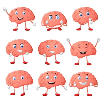 Set of brain cartoon character different expressions. vector illustration