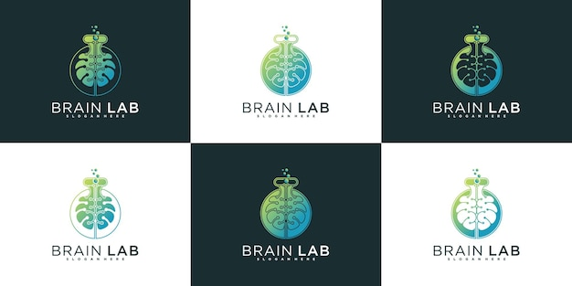 Set of brain laboratory logo design collection with cool gradient colour style premium vektor