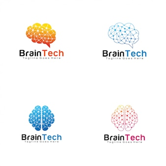 Set of brain tech logos