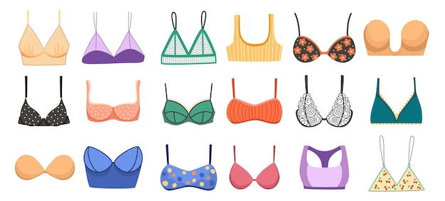 Set bras collection, types of lingerie balconette, strapless, glamour erotic push-up. bikini, bandeau and body figure