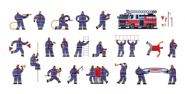 Set brave firemen in different poses firefighters wearing uniform and helmet firefighting emergency service extinguishing fire concept flat white background full length horizontal