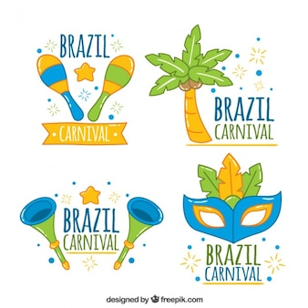 Set of brazil carnival stickers