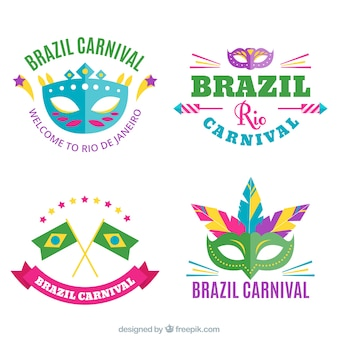 Set of brazilian carnival stickers in flat design