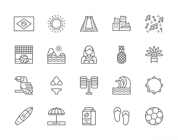Set of brazilian culture line icons. tropical fruits, beach landscape, toucan, sun, ancient pyramid, percussion, surfboard, soccer and more.