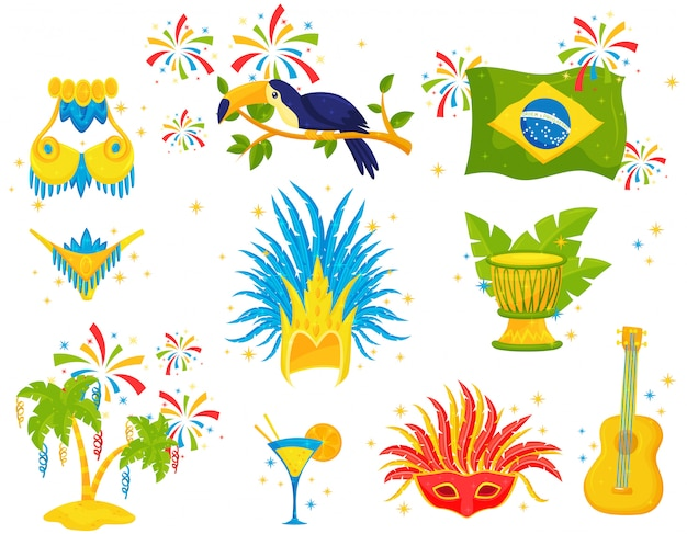 Set of brazilian icons. festive attributes, samba costume, toucan, palm trees and musical instruments