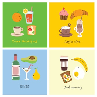 Set of breakfast food cards with hand written text, illustration.