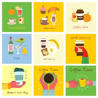 Set of breakfast food cards with hand written text, simple flat colorful warm illustration in the flat design