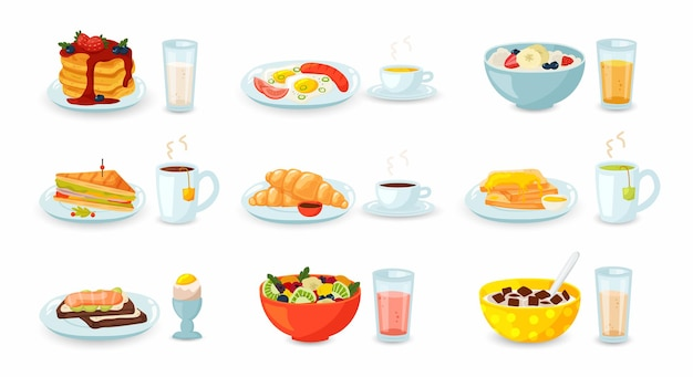 Set of breakfast meal with drinks