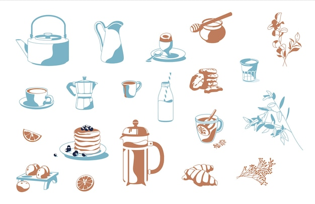 Set of breakfast objects coffee, tea, honey, croissants, pancakes, milk lemon, biscuits, cookies, french press, eggs isolated white background