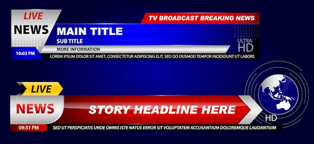 Set of breaking news template tv or banner template hot news for broadcasting or live report