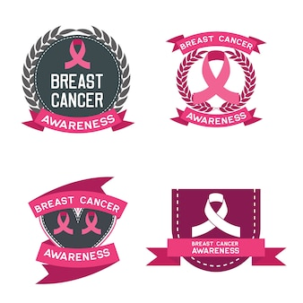 Set of breast cancer awareness for men and women logo