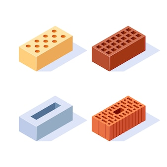 Set of brick isometric icons
