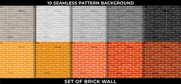 Set of brick wall pattern seamless background. design