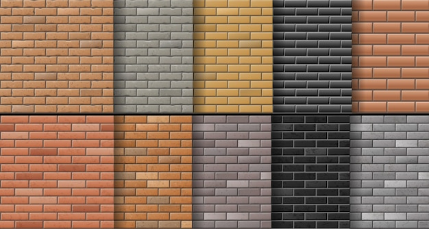 Set of brick wall texture background. modern realistic different color brick surfaces.