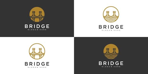 Set of bridge architecture and constructions logo design Premium Vector