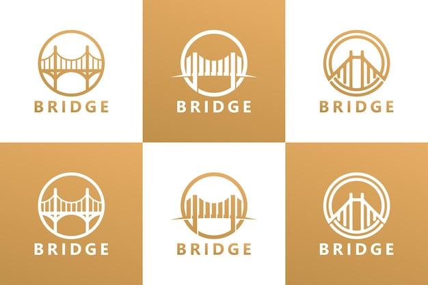 Set bridge logo template premium vector