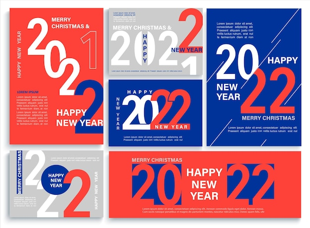 Set bright 2022 new year banners, flyers in red, blue, white colors.modern brochures,invitations and greetings cards, leaflets, headers,business diaries, calendar cover with numbers for 22 year.vector