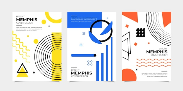 Set of bright abstract geometric memphis cover