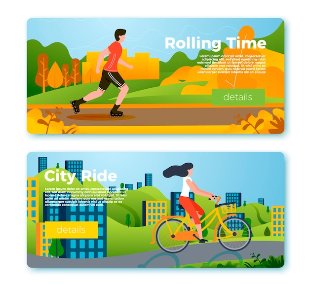 Set of bright banner templates with riding girl and man. city, forest, river and mountains