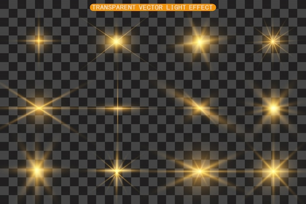 A set of bright beautiful stars. light effect. bright star. beautiful light for illustration. christmas star.white sparkles shine special light effect.  sparkles on a transparent background.