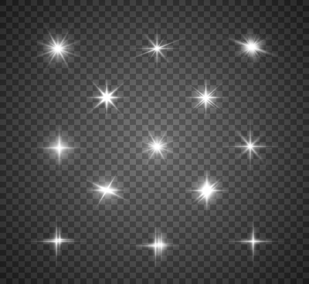 Set of bright beautiful stars. light effect. bright star. white glitter sparkles with special light effect. sparkles on a transparent background.