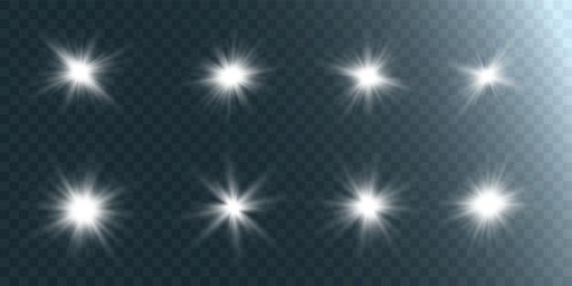 Set of bright beautiful stars