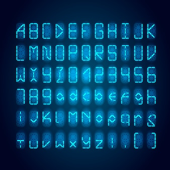 Set of bright blue digital retro clock font on dark