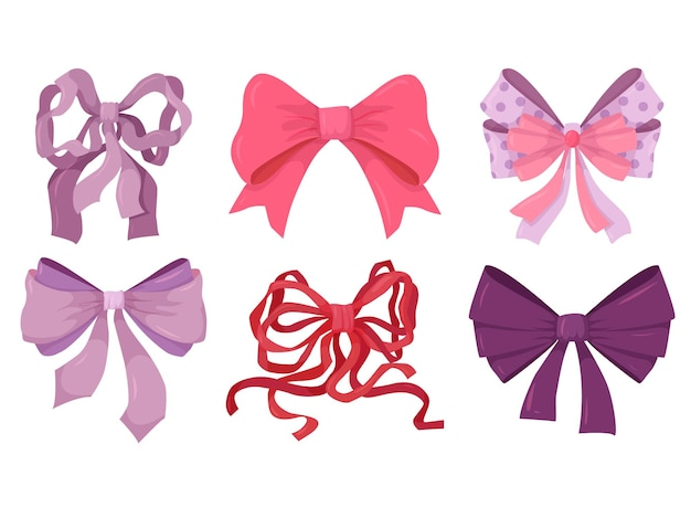 A set of bright bows from ribbons. decor for the holidays.
