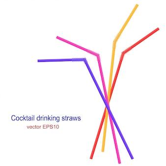 Set of bright cocktail straws