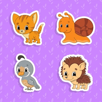 Set of bright color stickers for kids. cute cartoon characters.