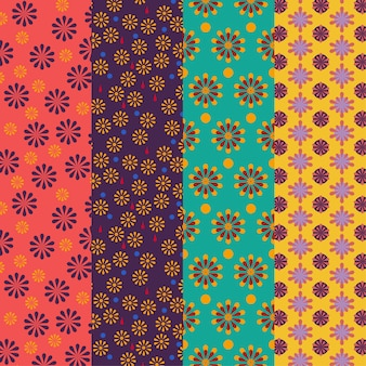 Set of bright colored floral patterns - seamless vector