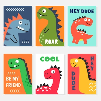 Set of bright colorful vector illustrations with funny friendly smiling cartoon dino characters