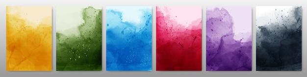Set of bright colorful watercolor background