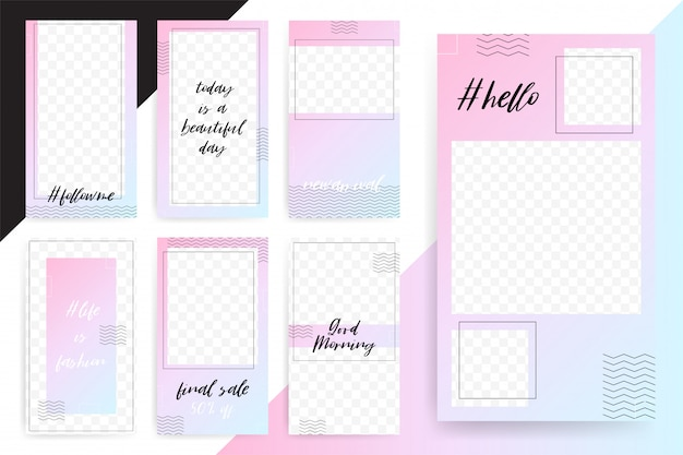 Set of bright editable template for stories and streams