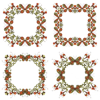 Set of bright frames of flowers and butterflies. vintage flourishes design elements isolated on white background