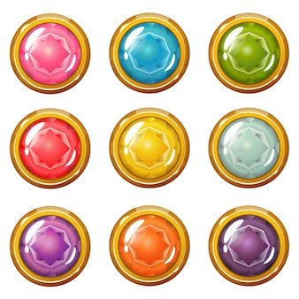 Set of bright golden plated crystal buttons