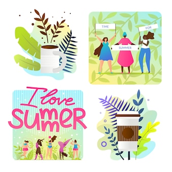 Set bright illustrations i love summer cartoon
