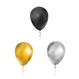 Set of bright luxury balloons in black, gold and silver colours on white