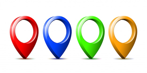 Set of bright map pointer icon isolated.