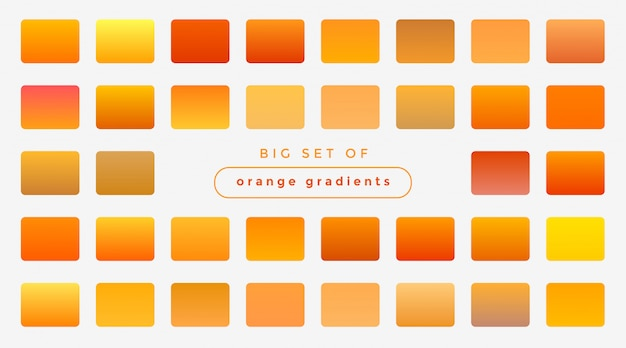 Set of bright orange and yellow gradients