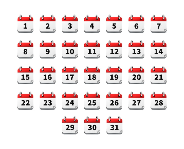 Set of bright realistic icons of calendar with dates isolated on white