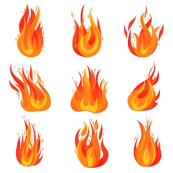 Set of bright red-orange fires. hot blazing flames. burning campfires. cartoon symbol of danger