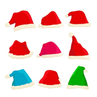 Set of bright santa claus hats on christmas and new year