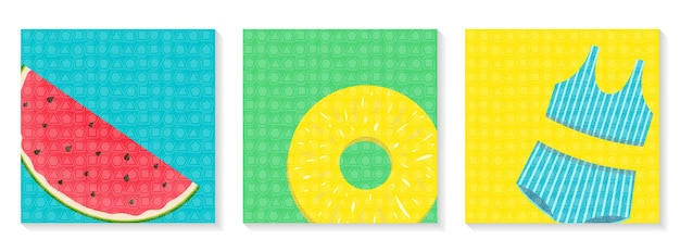 Set of bright square banners hello summer watermelon pineapple and swimsuit