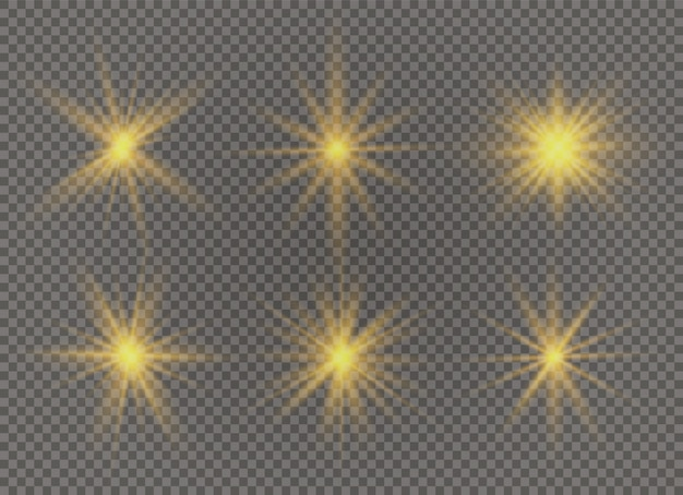 Set of bright star. yellow glowing light explodes on a transparent background. transparent shining sun, bright flash. to center a bright flash. sparkling magical dust particles.  sparkles.