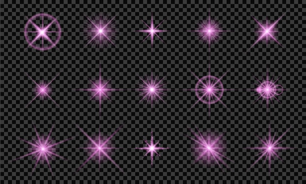 Set of bright stars flares of light purple color isolated on transparent background