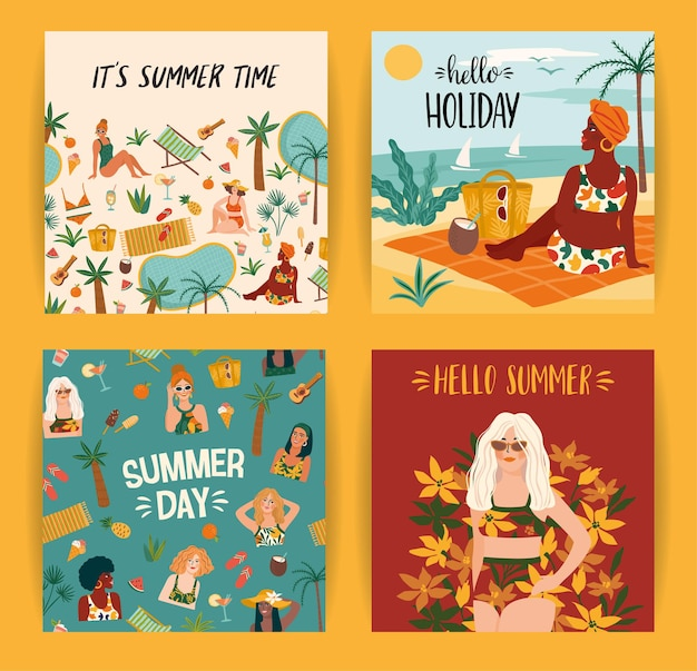 Set of bright summer illustrations with cute women. card