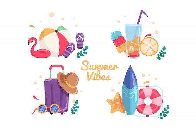 Set of bright summer vibes cards.